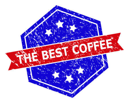 Hexagon THE BEST COFFEE stamp seal. Flat vector red and blue bicolor distress rubber stamp with THE BEST COFFEE tag inside hexagon shape, ribbon used. Rubber imitation with unclean style,