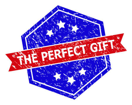 Hexagon THE PERFECT GIFT stamp. Flat vector red and blue bicolor textured stamp with THE PERFECT GIFT text inside hexagon form, ribbon used also. Watermark with distress surface,
