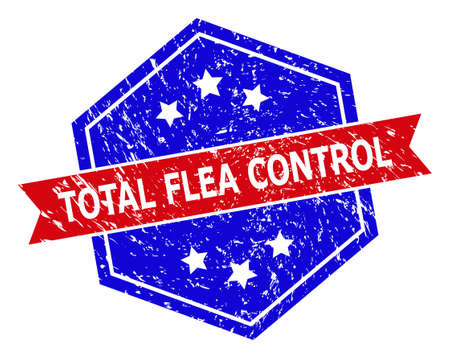 Hexagon TOTAL FLEA CONTROL stamp. Flat vector blue and red bicolor scratched rubber stamp with TOTAL FLEA CONTROL message inside hexagoanl form, ribbon used also.