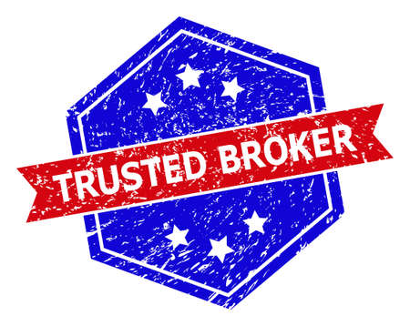 Hexagon TRUSTED BROKER seal stamp. Flat vector blue and red bicolor distress rubber stamp with TRUSTED BROKER text inside hexagon form, ribbon used. Rubber imitation with grunge surface,