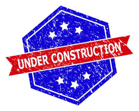 Hexagon UNDER CONSTRUCTION stamp seal. Flat vector blue and red bicolor textured seal with UNDER CONSTRUCTION tag inside hexagon shape, ribbon is used also. Imprint with corroded style,