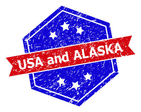 Hexagon USA AND ALASKA stamp seal. Flat vector red and blue bicolor textured stamp with USA AND ALASKA tag inside hexagon shape, ribbon used. Watermark with distress texture, on a white background. Vectores
