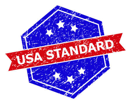 Hexagon USA STANDARD seal stamp. Flat vector red and blue bicolor distress watermark with USA STANDARD message inside hexagon form, ribbon is used. Watermark with distress style, Vectores