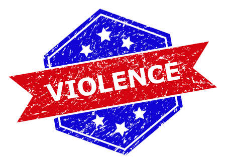 Hexagon VIOLENCE seal. Flat vector red and blue bicolor distress seal with VIOLENCE slogan inside hexagon shape, ribbon is used. Imprint with unclean style, on a white background.