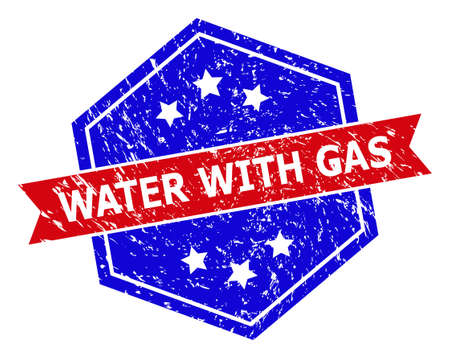 Hexagonal WATER WITH GAS watermark. Flat vector red and blue bicolor distress rubber stamp with WATER WITH GAS phrase inside hexagoanl shape, ribbon is used also.