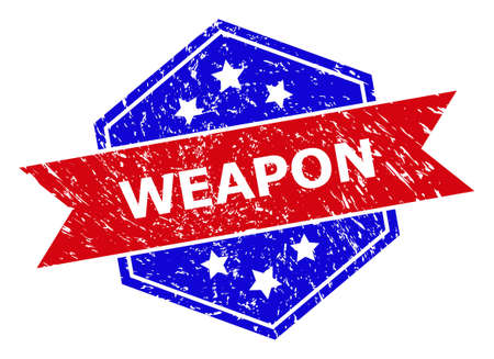 Hexagon WEAPON stamp seal. Flat vector blue and red bicolor distress rubber stamp with WEAPON tag inside hexagon shape, ribbon used. Rubber imitation with unclean texture, on a white background.