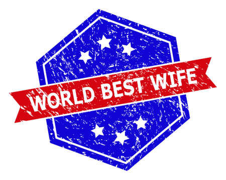 Hexagonal WORLD BEST WIFE watermark. Flat vector red and blue bicolor grunge watermark with WORLD BEST WIFE tag inside hexagon form, ribbon is used also. Watermark with corroded surface,