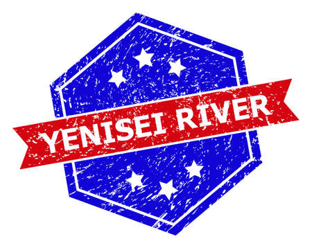 Hexagon YENISEI RIVER stamp. Flat vector red and blue bicolor grunge rubber stamp with YENISEI RIVER title inside hexagon shape, ribbon is used also. Rubber imitation with corroded surface,