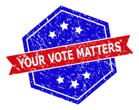 Hexagon YOUR VOTE MATTERS seal stamp. Flat vector blue and red bicolor distress seal stamp with YOUR VOTE MATTERS title inside hexagon shape, ribbon is used also. Imprint with corroded texture,