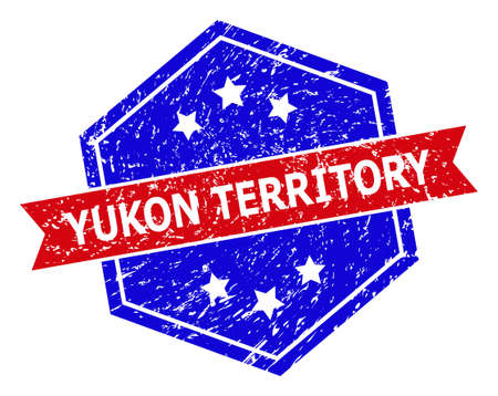 Hexagon YUKON TERRITORY seal stamp. Flat vector blue and red bicolor distress stamp with YUKON TERRITORY caption inside hexagon shape, ribbon is used. Rubber imitation with grunge texture, Vectores