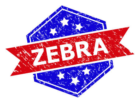 Hexagon ZEBRA seal stamp. Flat vector red and blue bicolor grunge seal stamp with ZEBRA tag inside hexagon form, ribbon is used also. Rubber imitation with corroded texture, on a white background.