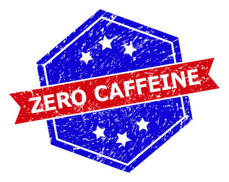 Hexagon ZERO CAFFEINE seal. Flat vector blue and red bicolor distress seal with ZERO CAFFEINE tag inside hexagon form, ribbon is used also. Rubber imitation with corroded style, on a white background.