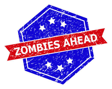 Hexagon ZOMBIES AHEAD seal stamp. Flat vector red and blue bicolor textured rubber stamp with ZOMBIES AHEAD phrase inside hexagon shape, ribbon is used. Rubber imitation with scratched texture,
