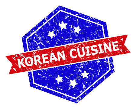 Hexagon KOREAN CUISINE stamp seal. Flat vector blue and red bicolor distress rubber stamp with KOREAN CUISINE message inside hexagon form, ribbon used also. Watermark with grunge style, Vectores