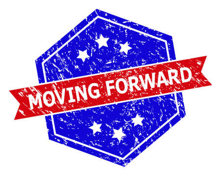 Hexagonal MOVING FORWARD stamp. Flat vector blue and red bicolor distress seal stamp with MOVING FORWARD phrase inside hexagon shape, ribbon used. Imprint with distress surface, on a white background.