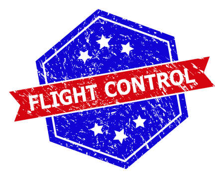 Hexagon FLIGHT CONTROL seal. Flat vector red and blue bicolor distress seal stamp with FLIGHT CONTROL message inside hexagon shape, ribbon is used also. Watermark with distress surface,