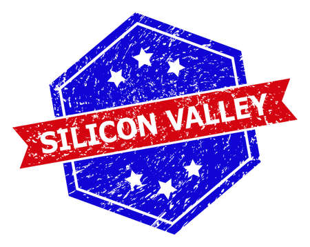 Hexagonal SILICON VALLEY seal stamp. Flat vector red and blue bicolor grunge rubber stamp with SILICON VALLEY caption inside hexagonal shape, ribbon used. Rubber imitation with corroded texture,