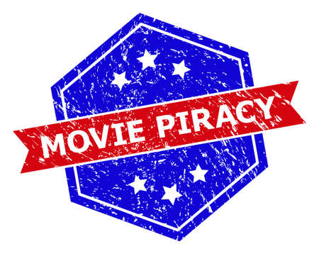 Hexagon MOVIE PIRACY seal stamp. Flat vector red and blue bicolor scratched seal stamp with MOVIE PIRACY text inside hexagon form, ribbon used also. Imprint with corroded style, on a white background.