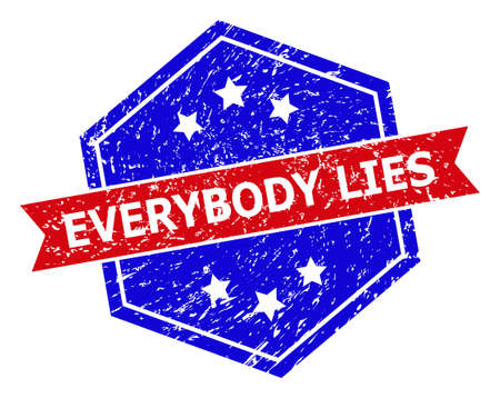 Hexagon EVERYBODY LIES watermark. Flat vector red and blue bicolor distress watermark with EVERYBODY LIES phrase inside hexagonal form, ribbon used. Watermark with unclean texture,