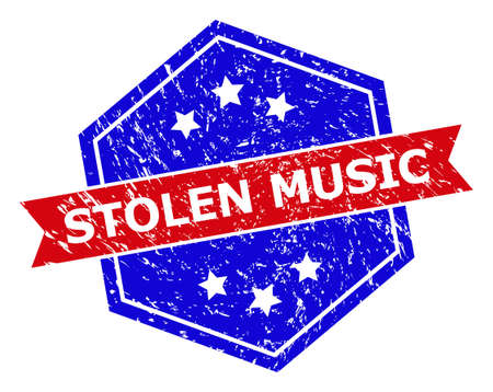 Hexagon STOLEN MUSIC stamp seal. Flat vector red and blue bicolor distress rubber stamp with STOLEN MUSIC title inside hexagon shape, ribbon is used also. Rubber imitation with grunge texture,