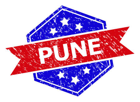 Hexagon PUNE seal stamp. Flat vector red and blue bicolor scratched rubber stamp with PUNE title inside hexagon form, ribbon used. Imprint with scratched texture, on a white background.