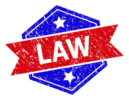Hexagon LAW watermark. Flat vector blue and red bicolor textured rubber stamp with LAW slogan inside hexagon shape, ribbon used also. Imprint with corroded surface, on a white background.