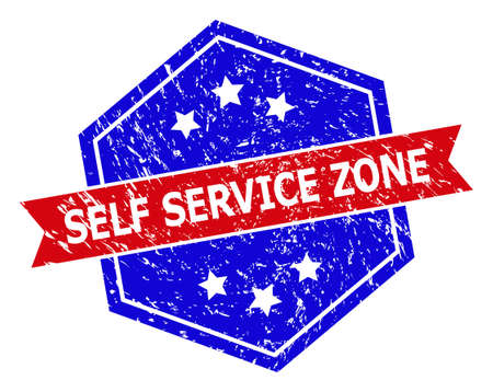 Hexagon SELF SERVICE ZONE seal. Flat vector red and blue bicolor distress seal stamp with SELF SERVICE ZONE message inside hexagon form, ribbon used. Imprint with corroded surface,