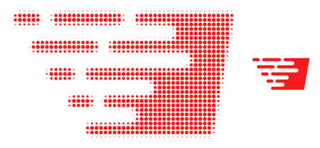 Fast effect halftone dotted icon illustration. Halftone array contains round points. Vector illustration of fast effect icon on a white background. Flat abstraction for fast effect symbol.
