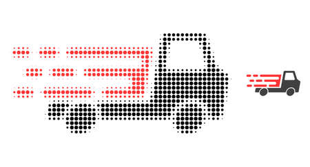 Delivery car chassi halftone dotted icon illustration. Halftone array contains round elements. Vector illustration of delivery car chassi icon on a white background.
