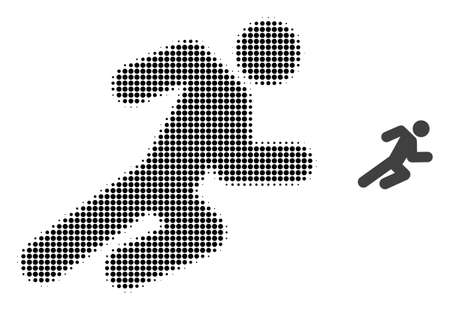 Running man halftone dotted icon illustration. Halftone pattern contains round pixels. Vector illustration of running man icon on a white background. Flat abstraction for running man pictogram.