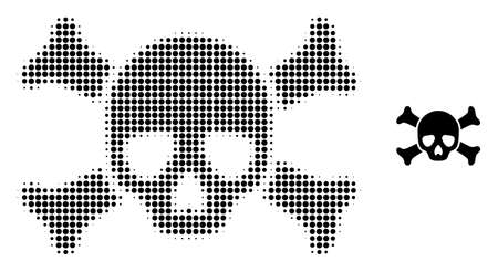 Death skull halftone dot icon illustration. Halftone array contains round points. Vector illustration of death skull icon on a white background. Flat abstraction for death skull object.