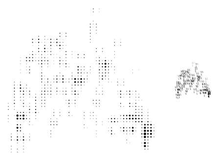 Sand swarm halftone dot icon illustration. Halftone pattern contains round points. Vector illustration of sand swarm icon on a white background. Flat abstraction for sand swarm object.