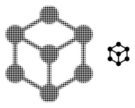Cube nodes halftone dot icon illustration. Halftone pattern contains round dots. Vector illustration of cube nodes icon on a white background. Flat abstraction for cube nodes pictogram.