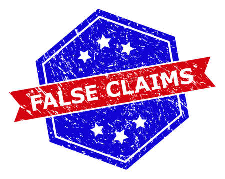 Hexagonal FALSE CLAIMS stamp. Flat vector red and blue bicolor scratched rubber stamp with FALSE CLAIMS tag inside hexagon shape, ribbon is used also. Rubber imitation with unclean texture,