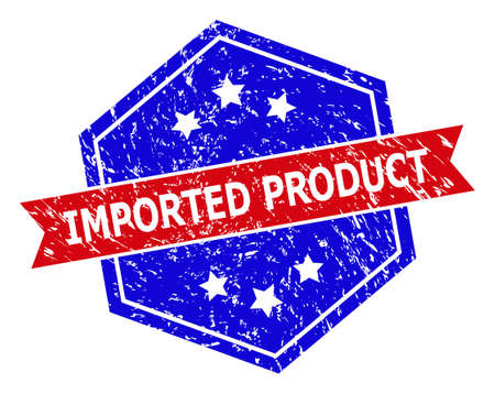 Hexagonal IMPORTED PRODUCT stamp seal. Flat vector blue and red bicolor grunge seal stamp with IMPORTED PRODUCT title inside hexagon shape, ribbon used also. Rubber imitation with grunge style,