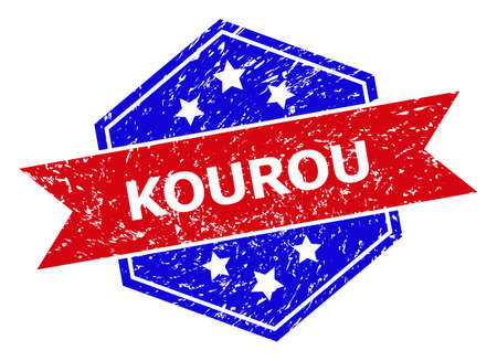 Hexagonal KOUROU seal stamp. Flat vector red and blue bicolor distress rubber stamp with KOUROU slogan inside hexagonal form, ribbon is used also. Rubber imitation with grunge surface,