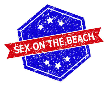 Hexagonal SEX ON THE BEACH stamp seal. Flat vector red and blue bicolor distress rubber stamp with SEX ON THE BEACH caption inside hexagonal shape, ribbon used also.