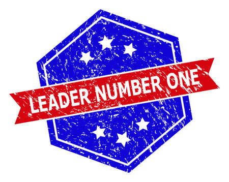 Hexagonal LEADER NUMBER ONE seal stamp. Flat vector blue and red bicolor scratched seal stamp with LEADER NUMBER ONE text inside hexagonal form, ribbon used. Rubber imitation with scratched texture,
