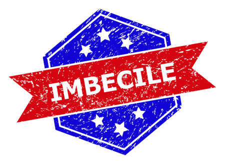 Hexagon IMBECILE seal stamp. Flat vector blue and red bicolor grunge seal stamp with IMBECILE phrase inside hexagon form, ribbon used also. Watermark with corroded texture, on a white background.
