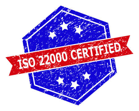 Hexagonal ISO 22000 CERTIFIED stamp. Flat vector blue and red bicolor distress rubber stamp with ISO 22000 CERTIFIED slogan inside hexagonal form, ribbon is used also. Imprint with distress style,