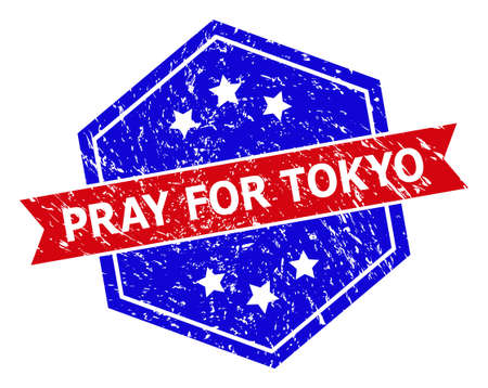 Hexagon PRAY FOR TOKYO seal stamp. Flat vector red and blue bicolor textured seal stamp with PRAY FOR TOKYO slogan inside hexagon shape, ribbon is used. Rubber imitation with scratched texture, Vector Illustration