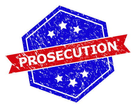 Hexagon PROSECUTION watermark. Flat vector red and blue bicolor scratched seal stamp with PROSECUTION caption inside hexagon form, ribbon used. Watermark with distress style, on a white background.