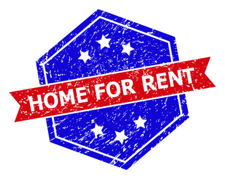 Hexagonal HOME FOR RENT stamp.