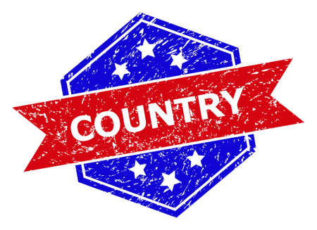 Hexagon COUNTRY seal. Flat vector red and blue bicolor grunge watermark with COUNTRY message inside hexagon shape, ribbon used. Watermark with scratched surface, on a white background.