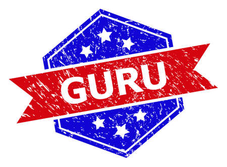 Hexagonal GURU stamp seal. Flat vector blue and red bicolor grunge seal stamp with GURU message inside hexagon shape, ribbon used also. Watermark with unclean texture, on a white background.