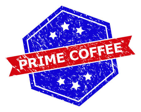 Hexagonal PRIME COFFEE stamp seal. Flat vector blue and red bicolor distress seal stamp with PRIME COFFEE slogan inside hexagoanl shape, ribbon is used. Rubber imitation with scratched texture,