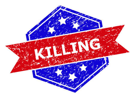 Hexagon KILLING seal. Flat vector red and blue bicolor distress seal stamp with KILLING phrase inside hexagon shape, ribbon used. Watermark with corroded style, on a white background. 矢量图片