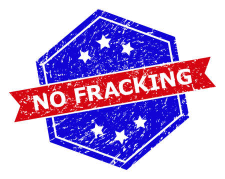 Hexagon NO FRACKING seal stamp. Flat vector red and blue bicolor scratched seal stamp with NO FRACKING message inside hexagon form, ribbon is used. Imprint with grunged style, on a white background.