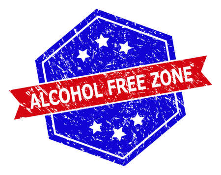 Hexagon ALCOHOL FREE ZONE seal stamp. Flat vector red and blue bicolor textured seal stamp with ALCOHOL FREE ZONE caption inside hexagon form, ribbon is used also. Imprint with corroded style,