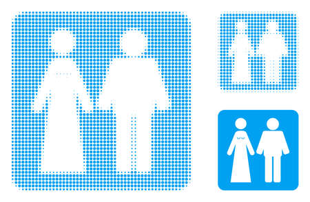 Married groom and bribe halftone dotted icon. Halftone array contains round dots. Vector illustration of married groom and bribe icon on a white background.